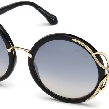 Roberto Cavalli - RC1076 Massarosa Shiny Black Sunglasses / Smoke Mirror Lenses