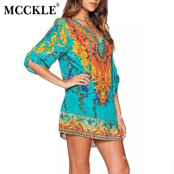 MCCKLE Summer Women Print Party Dress Bohemian half sleeve beach lace-up Casual dress Baroque Mini Straight Beach Dress Boho