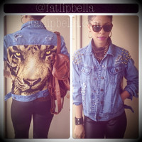 Denim jean jacket distressed tiger back with spikes by FatLipBella