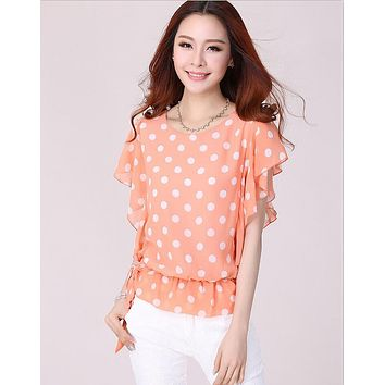 SHEER POLKA DOT CHIFFON BLOUSE