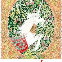 Unicorn with playing card symbols and millefleur, 3 greeting cards