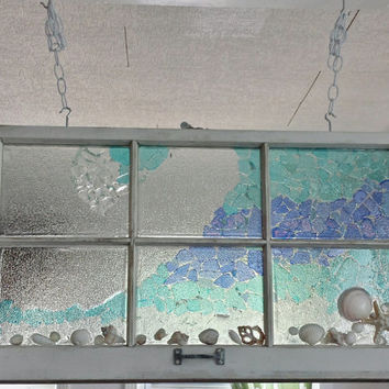 Handmade Sea Glass Mosaic Window, Ocean Wave With Seashell Accents on Vintage Window