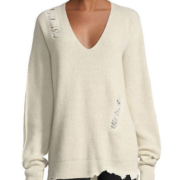 Helmut Lang Distressed V-Neck Oversized Wool-Cashmere Sweater and Matching Items
