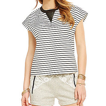 GB Striped Faux-Leather-Insert Crop Top - Black/White