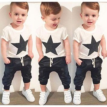 Baby Clothing Sets Summer Style Baby Girls Boys Clothes Black Letter T-shirt Imitation cowboy pants 2pcs suit