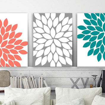 Flower Wall Art, Floral Coral Teal Gray Bedroom Wall Decor, CANVAS or Print, Floral Coral Teal Gray Bathroom Decor, Flower Artwork, Set of 3