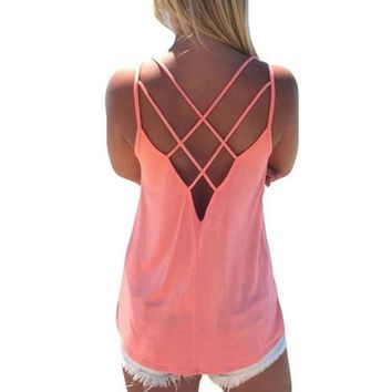 Summer Sexy Women Tank Top Ladies Camisole Sleeveless Strap Vest  Backless Tops Solid Criss Cross Loose Feminino Crop Top