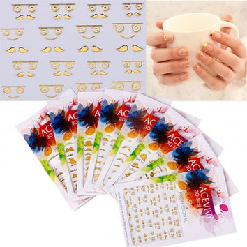 New Fashion Women's Professional 3D Nail Art Care Seal Fingernail Wraps Stickers