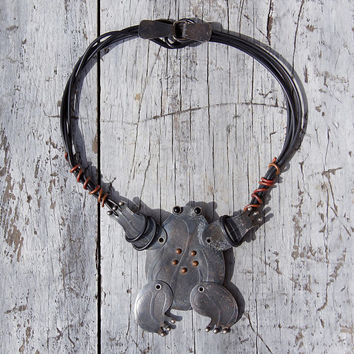 Giant Poseable Frog Artist Made Necklace