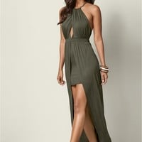 Open Back High Low Maxi in Olive | VENUS