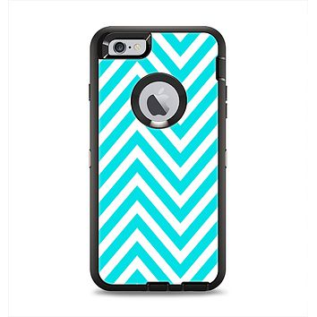 The Trendy Blue Sharp Chevron Pattern Apple iPhone 6 Plus Otterbox Defender Case Skin Set
