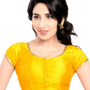Yellow Party-wear Silk Saree Blouse X-193SL