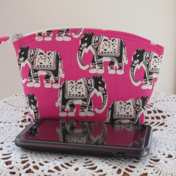 Clutch Cosmetic Bag  Purse Elephants in Pink Bridal Wedding Gift