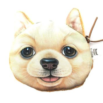 Realistic Golden Retriever Puppy Dog Face Shaped Soft Fabric Coin Purse Make Up Bag