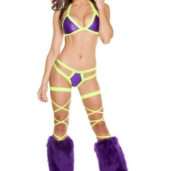 Roma Rave 3197 - Purple/Yellow - Two Tone Halter Top with Double Strap Pucker Back Bottom