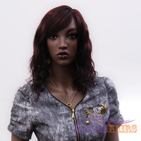 """18"""" Long Wavy with Bangs Synthetic Wigs for Women Basic Cap Red wine"""