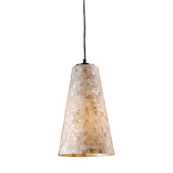 10142/1 Capri 1 Light Pendant In Satin Nickel And Capiz Shell - Free Shipping!