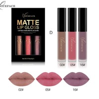 2017 New NICEFACE Brand 3 Colors/Set Liquid Lipsticks Make Up Pigments Sexy Red Purple Velvet Matte Lip Gloss Makeup Kit