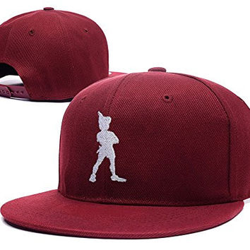 YWBI Peter Pan Standing Logo Adjustable Snapback Embroidery Hats Caps Red