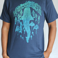 Whale shark Tee Shirt - Atlantis cityscape, manta rays, mermaids and dolphin shirt - Blue green screenprint on 13 soft T-Shirt colors.