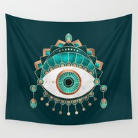 Teal Eye Wall Tapestry by Elisabeth Fredriksson