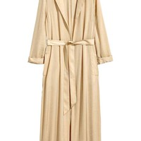Long satin coat - Beige - Ladies | H&M GB