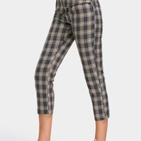 Back Faux Pocket Checked Capri Pants