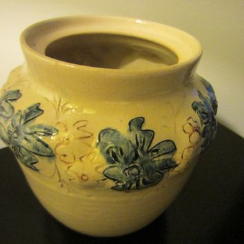 Ceramic Vase Decorated Blue Flowers Signed By Artist