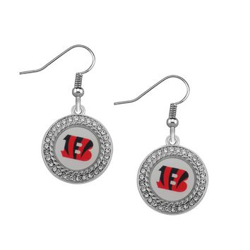 New Arrivals 10pair/lot silver rhinestone Drop Earrings Football  Cincinnati Bengals Earriings for Sports Women Jewelry