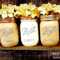 Painted Mason Jars, Country Decor,Flower Vases, Rustic Wedding Centerpieces, Creme and Tan Fall Trending Colors Mason Jars