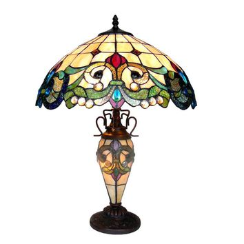 "CHLOE Lighting DULCE Tiffany-style 3 Light Victorian Double Lit Table Lamp 18"" Shade"