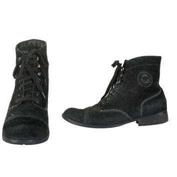 90s Black Boot 80s Boot Black Ankle Boot Lace Up Ankle Boot Hipster Boot Black Lace Up Boot Black Suede Boot Black Lace Up Boot Low Heel