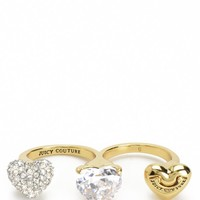 Gold Triple Finger Juicy Heart Ring by Juicy Couture,