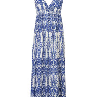 Blue Tile Pattern Cami Maxi Dress
