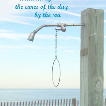 Bathroom Wall Art Decor | Beach Photography + Art Print Quote | Beach Shower by the Sea | Beach Wall Art for Bathroom | Bathroom Artwork