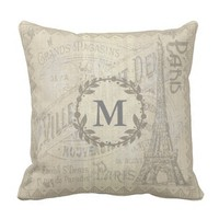 Vintage Burlap Textured PARIS Outdoor Pillow