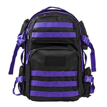 Tactical Backpack w/ Multiple Compartments & Molle Webbing - Black w Purple Trim