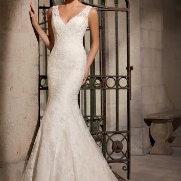 Mori Lee 2714 V-Neck Fit and Flare Lace Wedding Dress
