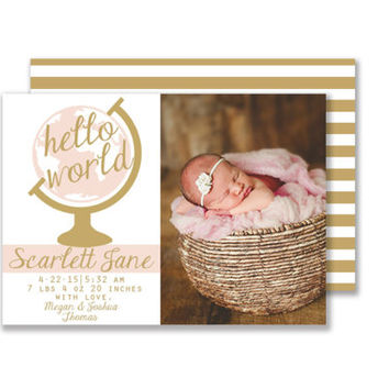 Hello World Pink and Gold Baby Girl Birth Announcement Digital Printable Card