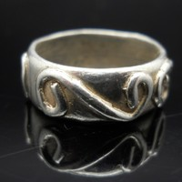 Double Swirl Ring Sterling Silver Band Size 6 Vintage 925