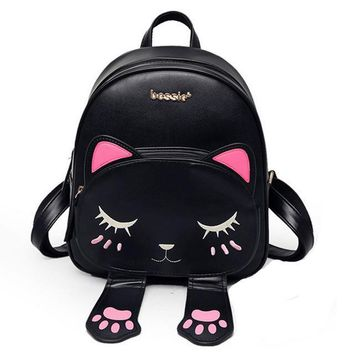 Cute Cat Backpack School Women Pu Leather Backpacks for Teenage Girls Funny Cats Ears Canvas