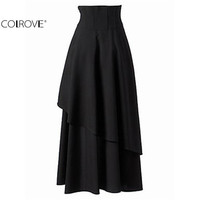 COLROVE Autumn High Street New Arrival Women's Fashionable Korean Designers Retro Brand Casual Plain Black Long Skirt