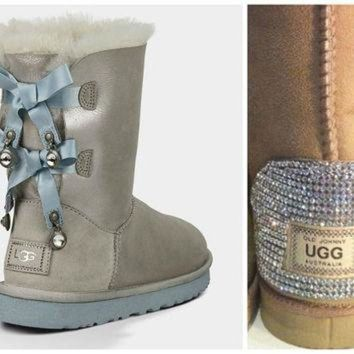 CUPUPS Swarovski Crystal Embellished Limited Edition Bailey Bow Uggs - Winter / Holiday Bling