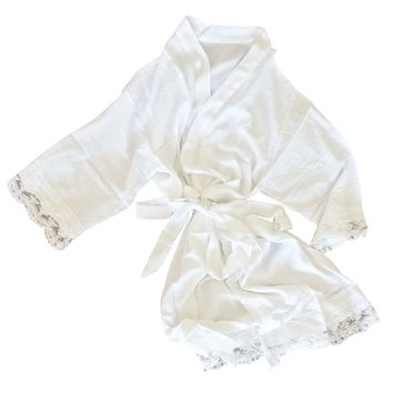 LACE TRIMMED COTTON ROBE- MANY COLORS