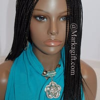 """Afro Fully Hand Braided Lace Front Wig - Color Hannah#2 In 18"""""""