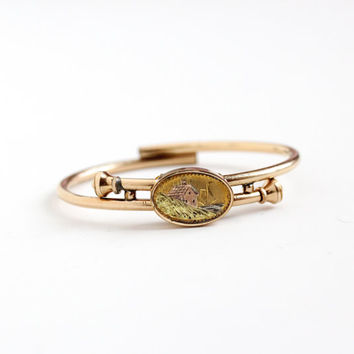 Antique Gold Filled Victorian Bypass Bracelet Dated 1879 - Unique Coastal Town Scene Vintage Late 1800s Hinged Bangle Wrap Patented Jewelry