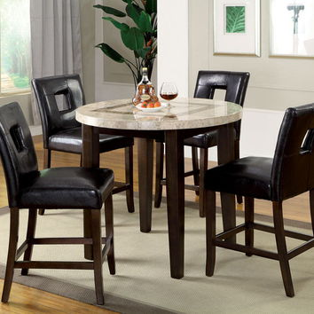 CM3693RPT 5 pc lisbon iii contemporary style dark walnut finish round marble top counter height dining table set