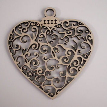 Heart Ornament Wood Shape,  Laser Cut, Unfinished Wood, Christmas Decorations, Wedding Ornament, Ready to Paint Wood Shapes, 2 PIECES