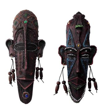 Vintage African hanging decorative masks resin crafts creative home living room/bar wall decoration soft pendant ornaments