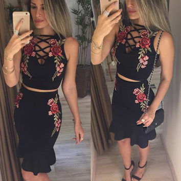 Lace Up Ruffles Hem 2 Piece Set Dress Fashion Women Embroidery Floral Sleeveless Hollow Out Mermaid Party Dresses Femme Robe